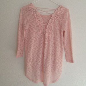 Almost Famous Lace-Up Top Pink Crochet High Low M